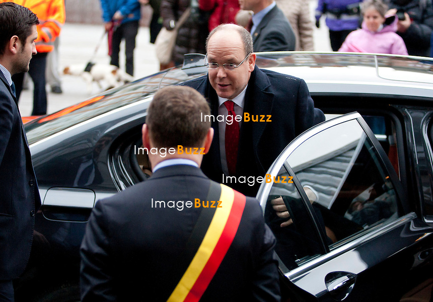 PRINCE ALBERT OF MONACO & PRINCE PHILIPPE OF BELGIUM - NAMUR, BELGIUM: Prince Albert of Monaco and Crown Prince Philippe of Belgium pictured at the opening of the first interdisciplinary congress on sustainable development, Thursday 31 January 2013 in Namur. .Pictured :  Prince Albert of Monaco