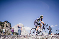 Omar Fraile (ESP/Dimension Data) up the Passo Gardena / Grödnerjoch (2221m)<br /> <br /> Stage 18: Moena › Ortisei/St. Urlich (137km)<br /> 100th Giro d'Italia 2017