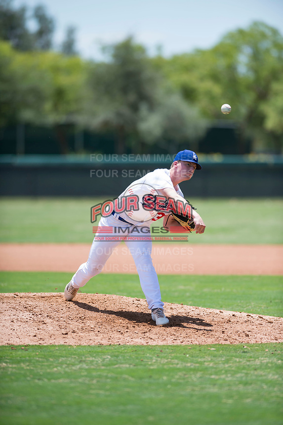 AZL Dodgers relief pitcher Jacob Gilliland (33) delivers a pitch during an Arizona League game against the AZL Padres 2 at Camelback Ranch on July 4, 2018 in Glendale, Arizona. The AZL Dodgers defeated the AZL Padres 2 9-8. (Zachary Lucy/Four Seam Images)