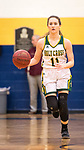 WATERBURY,  CT-021819JS15-  Holy Cross' Hanna Brown (11) brings the ball up court during their NVL semi-final game against Watertown Monday at Kennedy High School in Waterbury. Brown scored 12 in their 48-32 win over the Indians. <br /> Jim Shannon Republican American