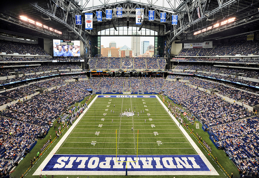 An overall view of Lucas Oil Stadium in Indianapolis, IN, during a game between the Indianapolis Colts and the St. Louis Rams on August 12, 2012. (AP Photo/Chris Bernacchi)