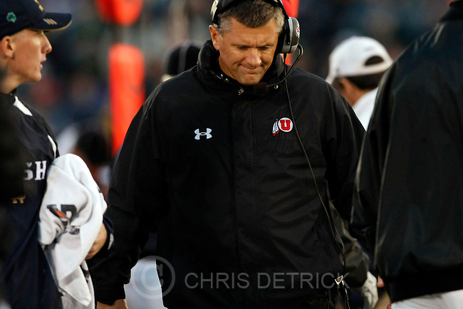 Chris Detrick  |  The Salt Lake Tribune .Utah Head Coach Kyle Whittingham during the second half of the game at Notre Dame Stadium Saturday November 13, 2010. Notre Dame won the game 28-3.