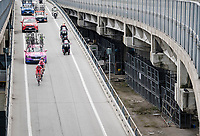 breakaway group Marco Frapporti  (ITA/Androni Giocattoli - Sidermec), Nathan Brown (USA/EF Education First) & Damiano Cima (ITA/Nippo - Vini Fantini) <br /> <br /> Stage 8: Tortoreto Lido to Pesaro (239km)<br /> 102nd Giro d'Italia 2019<br /> <br /> ©kramon