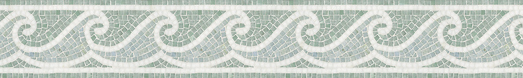 "6"" Jordan Wave border, a hand-cut mosaic shown in tumbled Celeste, Ming Green, and Thassos by New Ravenna."