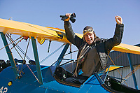 Stuart Munson, owner of the Petaluma Municipal Airport pilot supply shop after a flight in a Stearman, Petaluma, Sonoma County, California.