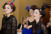 September 17, 2010.  Raleigh, North Carolina..(Left to Right) Meagan McInerney, Lauren Youngman, and Ashley Reynolds share a couple of laughs before they hit the runway.  Outfits were designed by Domino.