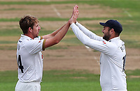 Matt Quinn (left) and Nick Browne (right) celebrate taking the wicket of Steven Mullaney during Nottinghamshire CCC vs Essex CCC, Specsavers County Championship Division 1 Cricket at Trent Bridge on 10th September 2018