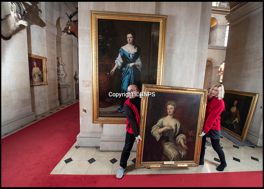 BNPS.co.uk (01202 558833)<br /> Pic: PhilYeomans/BNPS<br /> <br /> Queen Anne (wall) and Sarah Chuchill come face to face once more at Blenheim Palace...<br /> <br /> Paper trail - As Olivia Coleman wins the best actress Oscar for her acclaimed portrayal of Queen Anne, a fascinating newly discovered document at Blenheim Palace reveals her very private account's, meticulously kept by Sarah Churchill, Duchess of Marlborough.<br /> <br /> The hand written ledger gives an astonishing insight into the Royal court depicted in 'The Favourite' movie.<br /> <br /> Mysterious payments of several thousand pounds in modern money are listed, including 'to the mad spaniard', 'to Mr M, by order of the Queen, for Secret Service' and even 'to release a prisoner'.<br /> <br /> Also revealed is an astonishing £11,000 bill for chocolate, and a similar one for tea, both were extremely fashionable and expensive new drinks at the time.<br /> <br /> The newly discovered accounts offer an intimate glimpse inside the court of Queen Anne.