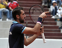 BOGOTA - COLOMBIA – 17 – 09 -2019: Marin Cilic de Croacia, celebra el partido ganado a Santiago Giraldo de Colombia, durante partido de la Copa Davis entre los equipos de Colombia y Croacia, partidos por el ascenso al Grupo Mundial de Copa Davis por BNP Paribas, en la Plaza de Toros La Santamaria en la ciudad de Bogota. / Marin Cilic of Croatia, celebrates the winner match to Santiago Giraldo of Colombia,  during a Davis Cup match between the teams of Colombia and Croatia, match promoted to the World Group Davis Cup by BNP Paribas, at the La Santamaria Ring Bull in Bogota city. / Photo: VizzorImage / Luis Ramirez / Staff.