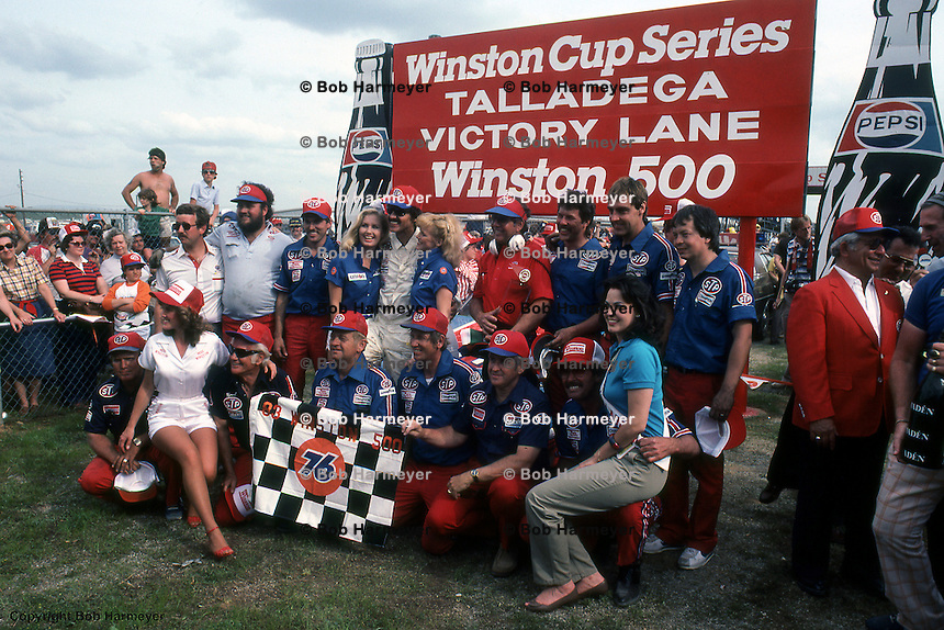 Richard Petty and his team celebrate in Victory Lane after winning a 1983 NASCAR race at Talladega, Alabama.