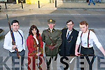 COSTUMES: The cast members of Tralee Musical society who in costume rehearsals at Tralee Court, Ashe Street, Tralee on Sunday, for their forth coming musical Michael Collins. Jack Healy(Joe Emmet), lava Lee Murphy (Kitty Kiernan), Muiris Crowley(Michael Collins), Alan Teahan (Harry Boland) and Jim Moran (Devealera)................... . ............................... ..........