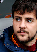 Calcio, Serie A: Roma-Genoa. Roma, stadio Olimpico, 12 gennaio 2014.<br /> AS Roma forward Mattia Destro sits on the bench prior to the start of the Italian Serie A football match between AS Roma and Genoa, at Rome's Olympic stadium, 12 January 2014. <br /> UPDATE IMAGES PRESS/Isabella Bonotto