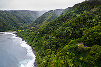 Aerial view of Honomanu Bay on the winding road to Hana, Maui.