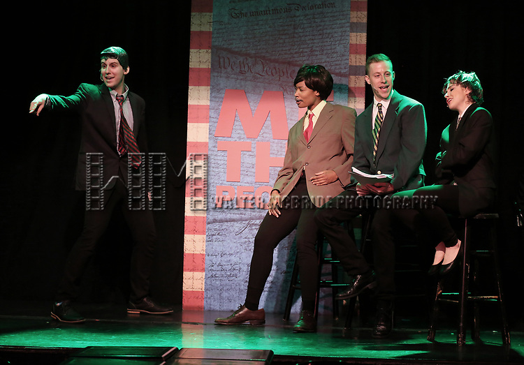 Richard Spitaletta as Paul Ryan, Aiesha Alia Dukes, Mitchel Kawash, and Mia Weinberger perform onstage during the 'ME THE PEOPLE: The Trump America Musical' Press Preview Presentation at The Triad Theater on June 21, 2017 in New York City.
