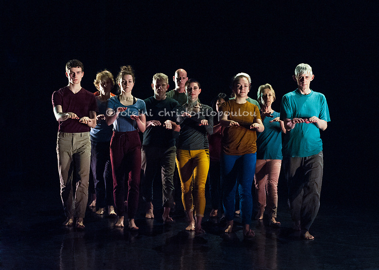 Production photos of Counterpoint Dance Company's 'Journeys of Internal Migration', part of Resolution 2018 at The Place. Choreography: Simona Scotto. Lights: Marine LH. Dancers: Viv Peyton, Bruce Currie, Andy Newman, Oemi Seyono, Rosalind Topping, Francis Knight, Mary Impey, Annabel Knobbs, Sebastien Kepps, Jonathan Starr, Melissa Bori, Dulcie Fraser. Photo - © Foteini Christofilopoulou.