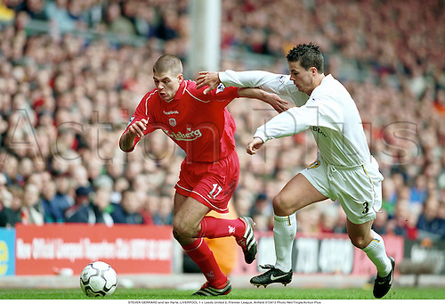 STEVEN GERRARD and Ian Harte, LIVERPOOL 1 v Leeds United 2, Premier League, Anfield, 010413. Photo:Neil Tingle/Action Plus...2001.soccer.football.association.premiership.english club clubs