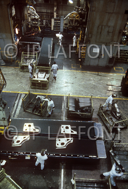 October, 1980. Suzuka, Japan. The assembly line at the Honda factory in Suzuka.