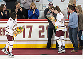 Kaliya Johnson (BC - 6), Allison Quandt (BC - Assistant Coach), Meghan Grieves (BC - 17), Chad Grieves, Debbie Grieves - The Boston College Eagles defeated the visiting Providence College Friars 7-1 on Friday, February 19, 2016, at Kelley Rink in Conte Forum in Boston, Massachusetts.