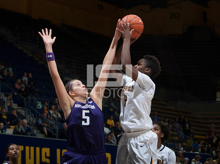Afure Jemerigbe of California shoots the ball during the game against Northwestern at Haas Pavilion in Berkeley, California on November 24th, 2013.  California defeated Northwestern, 65-51.