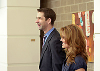 NWA Democrat-Gazette/BEN GOFF @NWABENGOFF<br /> Tom Cotton, U.S. Sen. (R-Ark.) and wife Anna Cotton chat with other guests Thursday, April 20, 2017, while attending the second installment of the Winthrop Paul Rockefeller Distinguished Lecture Series presented by the United States Marshals Museum, at the Fort Smith Convention Center in Fort Smith.