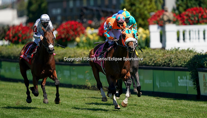September 5, 2020: Fancy Liquor, #8, ridden by jockey Florent Geroux, wins the American Turf on Kentucky Derby Day. The races are being run without fans due to the coronavirus pandemic that has gripped the world and nation for much of the year, with only essential personnel, media and ownership connections allowed to attend at Churchill Downs in Louisville, Kentucky. Scott Serio/Eclipse Sportswire/CSM