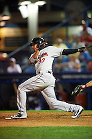 New Britain Rock Cats outfielder Noel Cuevas (33) at bat during a game against the Reading Fightin Phils on August 7, 2015 at FirstEnergy Stadium in Reading, Pennsylvania.  Reading defeated New Britain 4-3 in ten innings.  (Mike Janes/Four Seam Images)