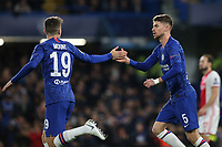 Jorginho celebrates scoring Chelsea's opening goal with Mason Mount during Chelsea vs AFC Ajax, UEFA Champions League Football at Stamford Bridge on 5th November 2019