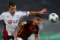 AS Roma's Juan Iturbe and Leverkusen's Giulio Donati  during the Champions League Group E soccer match between As Roma and  Bayer Leverkusen at the Olympic Stadium in Rome, November 04 2015