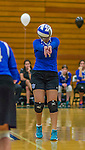 1 November 2015: Yeshiva University Maccabee Setter, Defensive Specialist, and team co-Captain Aliza Muller, a Senior from Los Angeles, CA, bumps against the SUNY College at Old Westbury Panthers at SUNY Old Westbury in Old Westbury, NY. The Panthers edged out the Maccabees 3-2 in NCAA women's volleyball, Skyline Conference play. Mandatory Credit: Ed Wolfstein Photo *** RAW (NEF) Image File Available ***
