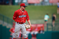 Lakewood BlueClaws relief pitcher Addison Russ (15) looks in for the sign during a game against the Greensboro Grasshoppers on June 10, 2018 at First National Bank Field in Greensboro, North Carolina.  Lakewood defeated Greensboro 2-0.  (Mike Janes/Four Seam Images)