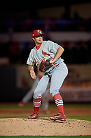 Palm Beach Cardinals relief pitcher Ben Yokley (22) during a Florida State League game against the Lakeland Flying Tigers on April 17, 2019 at Publix Field at Joker Marchant Stadium in Lakeland, Florida.  Lakeland defeated Palm Beach 1-0.  (Mike Janes/Four Seam Images)