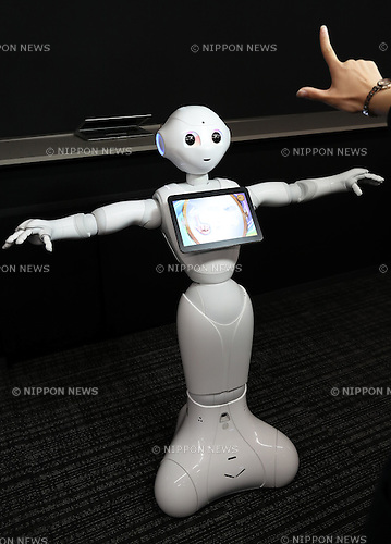 "May 19, 2016, Tokyo, Japan - Japanese telecom giant Softbank's humanoid robot Pepper demonstrates Google's Android application at a press conference at the Softbank headquarters in Tokyo on Thursday, May 19, 2016. Pepper will support Google's Android OS, and that presales of models for developers will begin from July 2016. And SoftBank will offer a software development kit ""Pepper SDK for Android Studio"" which enables the development of RoboApps on the Android platform.  (Photo by Yoshio Tsunoda/AFLO) LWX -ytd-"