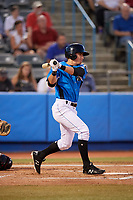 Hudson Valley Renegades shortstop Ford Proctor (7) follows through on a swing during a game against the Tri-City ValleyCats on August 24, 2018 at Dutchess Stadium in Wappingers Falls, New York.  Hudson Valley defeated Tri-City 4-0.  (Mike Janes/Four Seam Images)