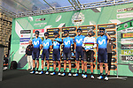 Movistar Team at sign on before the start of the 112th edition of Il Lombardia 2018, the final monument of the season running 241km from Bergamo to Como, Lombardy, Italy. 13th October 2018.<br /> Picture: Eoin Clarke | Cyclefile<br /> <br /> <br /> All photos usage must carry mandatory copyright credit (© Cyclefile | Eoin Clarke)