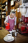 Tokyo, June 25 2013 - Hatsue Murata, 86, serving coffee from 1957 in her tiny shop at tsukiji fish market.