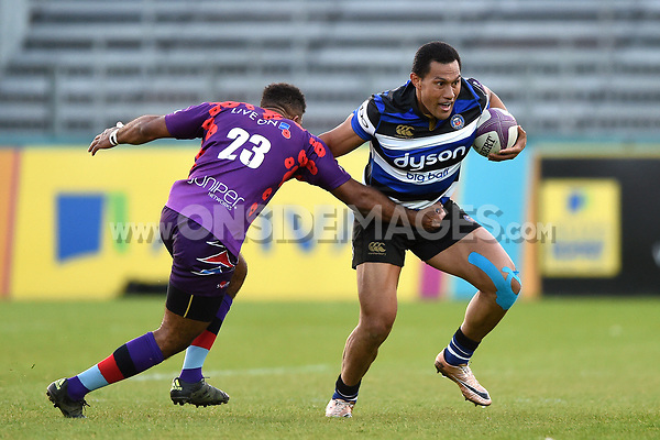 Robbie Fruean of Bath United is tackled by Sgt Lee Quigley of the UK Armed Forces. Remembrance Rugby match, between Bath United and the UK Armed Forces on May 10, 2017 at the Recreation Ground in Bath, England. Photo by: Patrick Khachfe / Onside Images