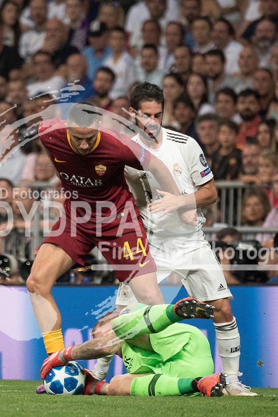 Uefa Champions League football match Real Madrid vs AS Roma at the Santiago Bernabeu stadium in Madrid on September 19, 2018.<br /> Manolas; Isco; Olsen