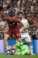 Uefa Champions League football match Real Madrid vs AS Roma at the Santiago Bernabeu stadium in Madrid on September 19, 2018.<br /> Manolas; Isco; Olsen