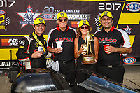 Jul 9, 2017; Joliet, IL, USA; NHRA top fuel driver Steve Torrence celebrates with crew after winning the Route 66 Nationals at Route 66 Raceway. Mandatory Credit: Mark J. Rebilas-USA TODAY Sports