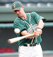 Manager Andy Haines (19) of the Greensboro Grasshoppers, Class A affiliate of the Florida Marlins, in a game against the Greenville Drive on April 25, 2011, at Fluor Field at the West End in Greenville, S.C. Photo by Tom Priddy / Four Seam Images