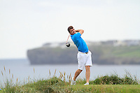 Darragh Coughlan (Portmarnock) on the 12th tee during the Quarter Finals of The South of Ireland in Lahinch Golf Club on Tuesday 29th July 2014.<br /> Picture:  Thos Caffrey / www.golffile.ie