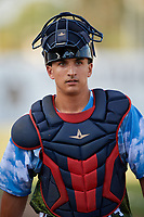Florida Fire Frogs catcher Lucas Herbert (34) before a game against the St. Lucie Mets on April 19, 2018 at Osceola County Stadium in Kissimmee, Florida.  St. Lucie defeated Florida 3-2.  (Mike Janes/Four Seam Images)