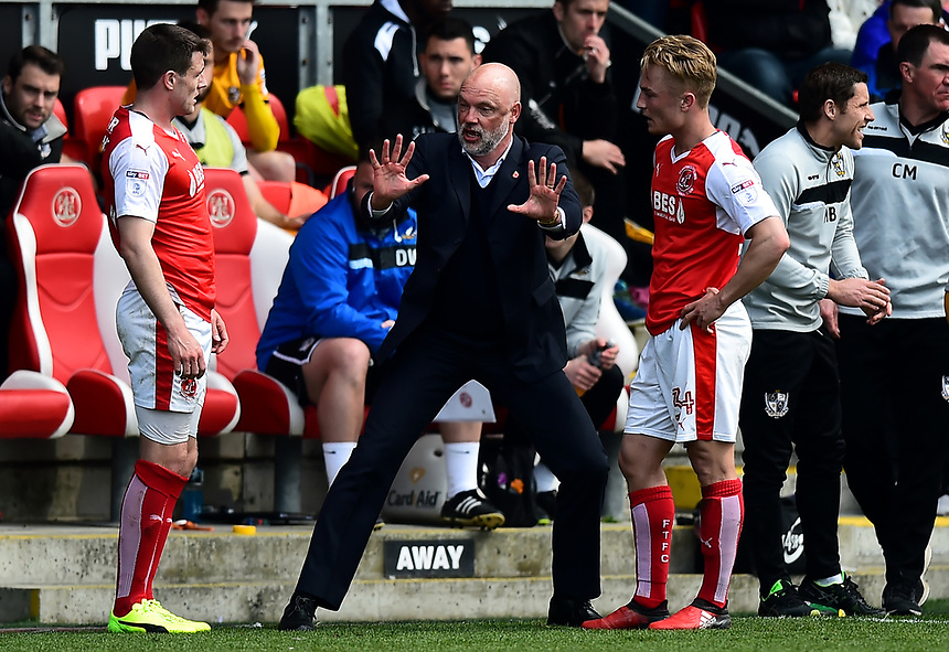 Fleetwood Town manager Uwe Rosler issues instructions to Bobby Grant and Kyle Dempsey (R)<br /> <br /> Photographer Richard Martin-Roberts/CameraSport<br /> <br /> The EFL Sky Bet League One - Fleetwood Town v Port Vale - Sunday 30th April 2017 - Highbury Stadium - Fleetwood<br /> <br /> World Copyright &copy; 2017 CameraSport. All rights reserved. 43 Linden Ave. Countesthorpe. Leicester. England. LE8 5PG - Tel: +44 (0) 116 277 4147 - admin@camerasport.com - www.camerasport.com