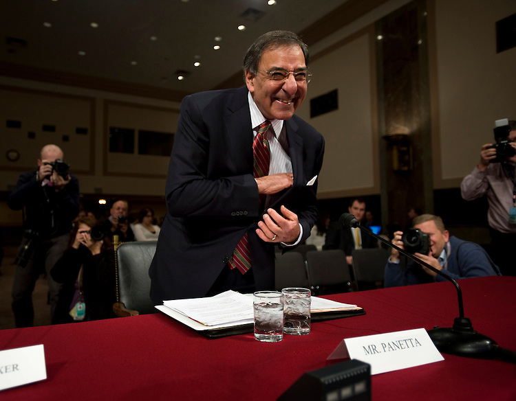 WASHINGTON, DC - Feb. 05: Leon E. Panetta, President Obama's choice to lead the Central Intelligence Agency, jokes with photographers as he prepares to testify during his nomination hearing before the Senate Intelligence Committee. Panetta, whose selection as CIA director despite a short intelligence resume has made him one of the more attention-getting nominees of the Obama administration. (Photo by Scott J. Ferrell/Congressional Quarterly)