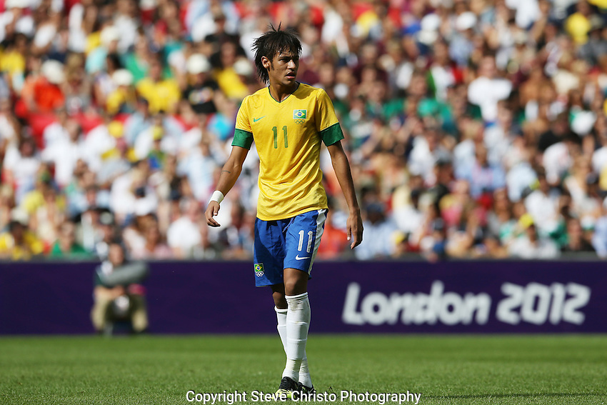 Brazil's Neymar da Silva Santos Junior during play against Mexico in the gold medal match at Wembley Stadium, London, UK. Saturday 11th August 2012. (Photo: Steve Christo)