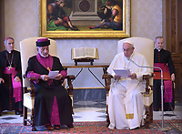 Pope Francis meets with Mar Gewargis III, Patriarch of the Assyrian Church of the East, right, on the occasion of their private audience at the Vatican, Friday, Nov. 9, 2018.