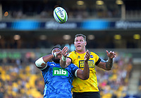 Patrick Tuipulotu and Scott Scrafton compete for lineout ball during the Super Rugby match between the Hurricanes and Blues at Sky Stadium in Wellington, New Zealand on Saturday, 7 March 2020. Photo: Dave Lintott / lintottphoto.co.nz