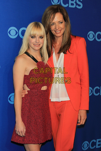 Anna Faris & Allison Janney.The CBS Upfront 2013 Party at Lincoln Center, New York, NY., USA..May 15th, 2013.half length red sleeveless dress cut out away blazer white shirt trousers orange .CAP/LNC/TOM.©LNC/Capital Pictures.