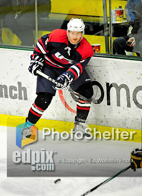 29 December 2010: The 2011 U.S. Men's National University Team's August Hoffmann, a defenseman attending University of Oklahoma, in action against the University of Vermont Catamounts in an exhibition game at Gutterson Fieldhouse in Burlington, Vermont. The Catamounts defeated the National team 7-1. Mandatory Credit: Ed Wolfstein Photo