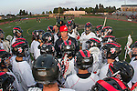 Torrance, CA 05/08/13 - Coach Brett Hughes addresses the Palos Verdes team before the championship game against Harvard Westlake.